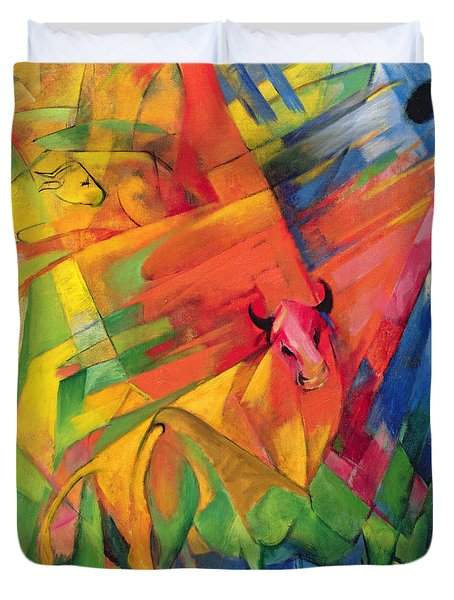 Animals In A Landscape Duvet Cover by Franz Marc
