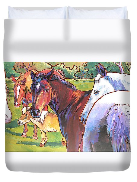 Duvet Cover featuring the painting Anjelica Huston's Horses by Nadi Spencer