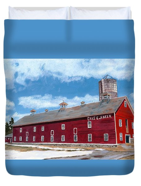 Duvet Cover featuring the painting Anken's Barn by Lynne Reichhart