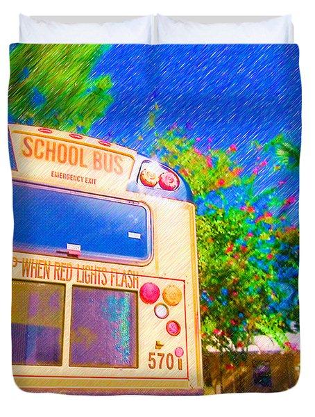 Anna Maria Elementary School Bus C131270 Duvet Cover