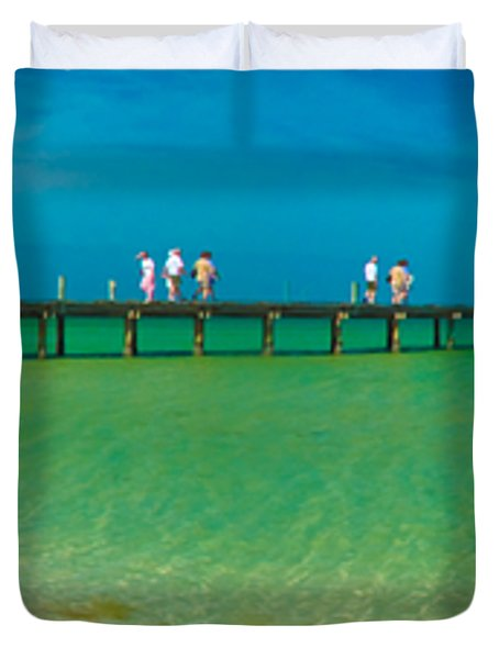 Anna Maria Island Historic City Pier Panorama Duvet Cover