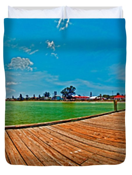 Anna Maria Island Seen From The Historic City Pier Panorama Duvet Cover
