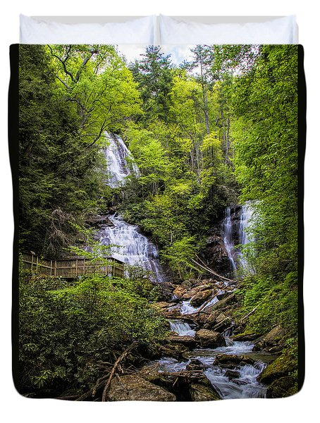 Duvet Cover featuring the photograph Anna-ruby Falls by Barbara Bowen