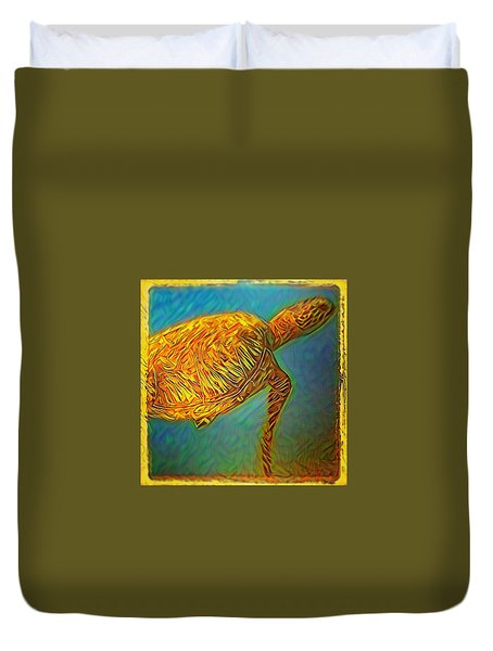 Annabelle The Turtle Duvet Cover by Erika Swartzkopf