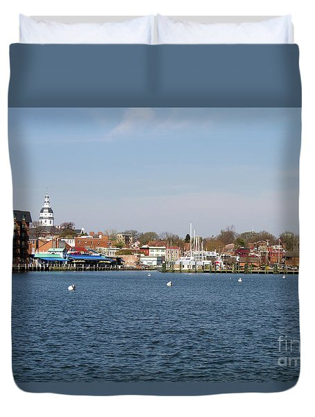 Duvet Cover featuring the photograph Annapolis City Skyline by Steven Frame