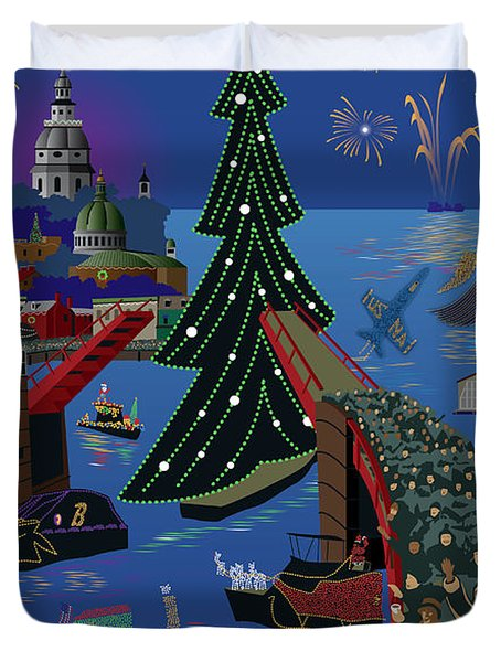 Annapolis Holiday Lights Parade Duvet Cover