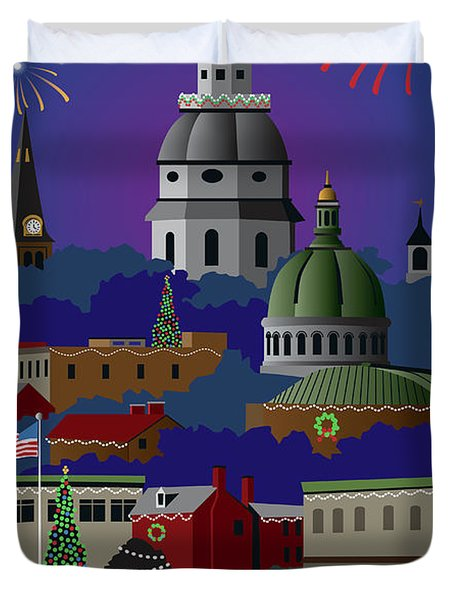 Annapolis Holiday With Title Duvet Cover