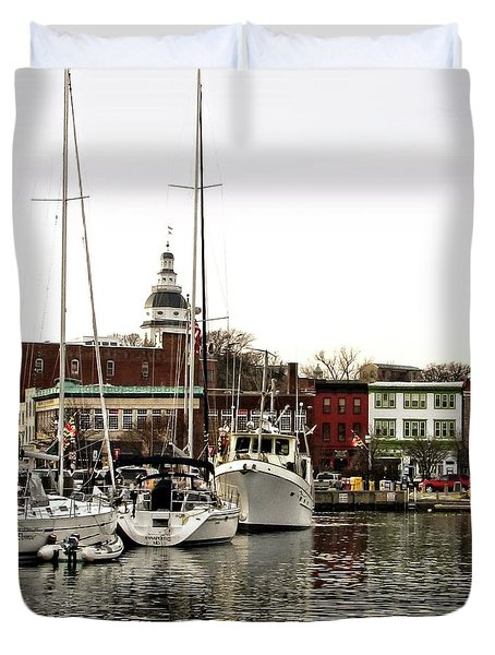 Annapolis Maryland Harbor Duvet Cover