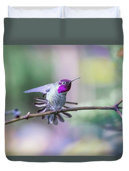 Anna's Hummingbird Stretching Duvet Cover