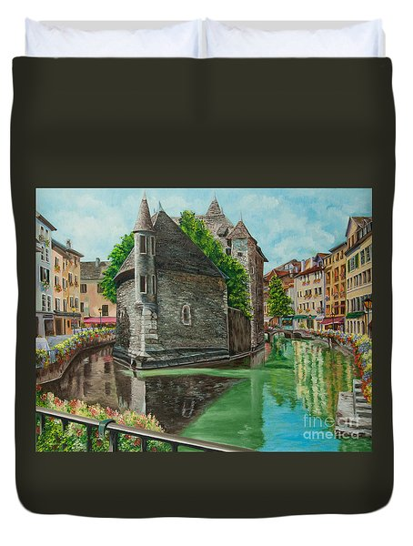 Annecy-the Venice Of France Duvet Cover by Charlotte Blanchard