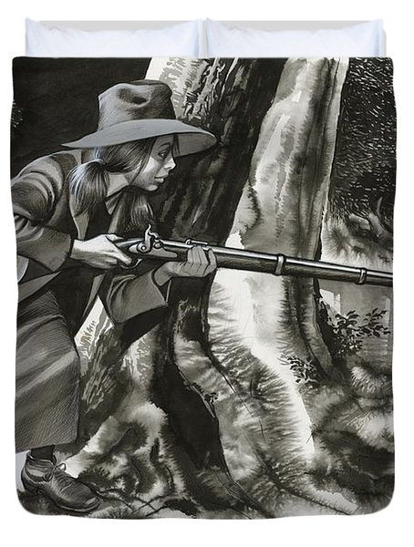 Annie Oakley Shooting A Buck Duvet Cover