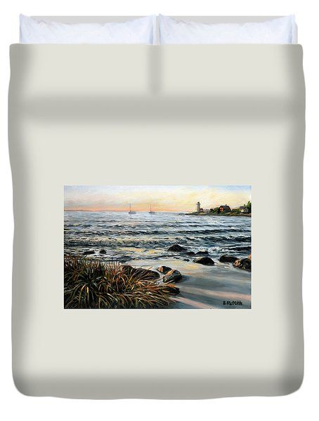 Annisquam Beach And Lighthouse Duvet Cover