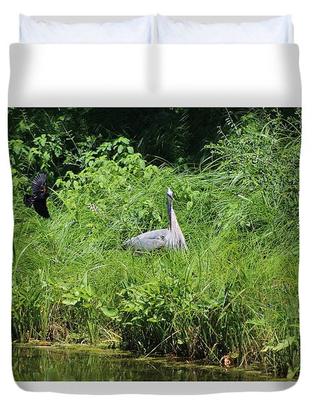 Annoyed - Heron And Red Winged Blackbird 1 Of 10 Duvet Cover