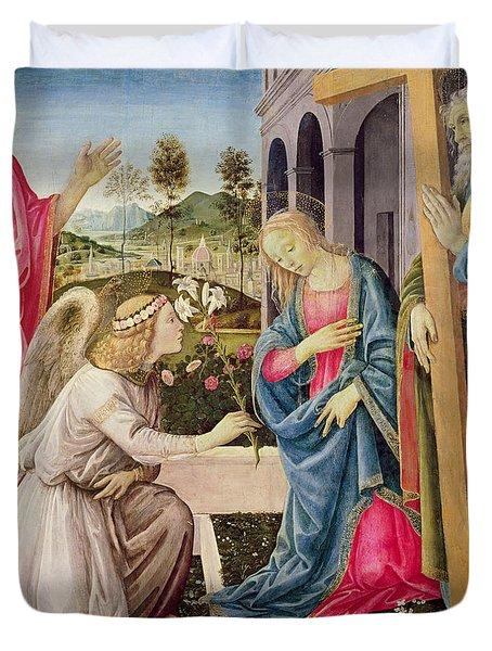 Annunciation With Saint Joseph And Saint John The Baptist Duvet Cover