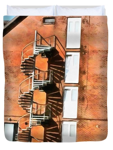 Duvet Cover featuring the painting Anomaly Of Construction by Mario Carini