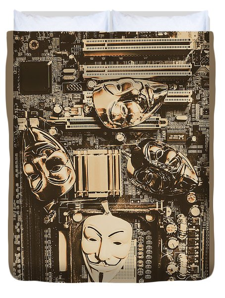 Anonymous Cyber Masks Duvet Cover