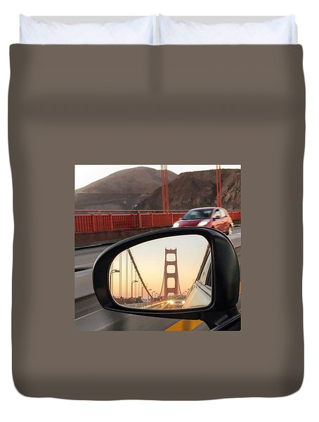 Side Mirror Golden Gate Bridge Duvet Cover by Eugene Evon