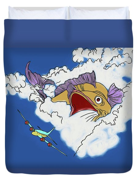Duvet Cover featuring the digital art Another Fish Story by John Haldane