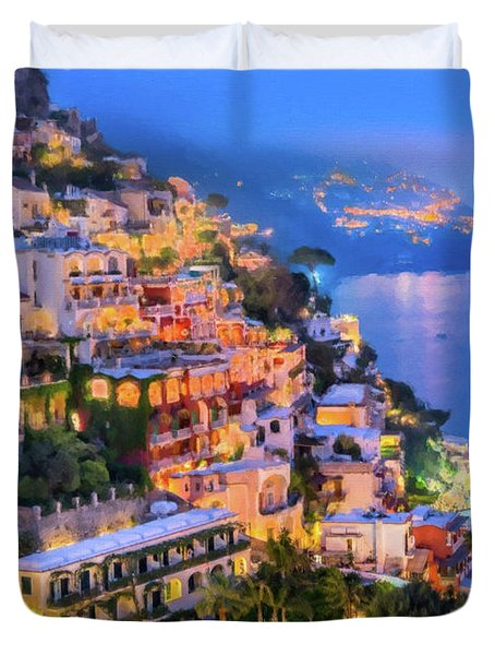 Another Glowing Evening In Positano Duvet Cover