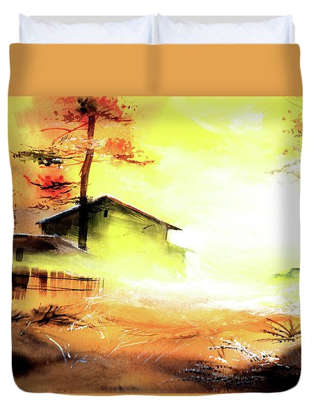 Duvet Cover featuring the painting Another Good Morning by Anil Nene