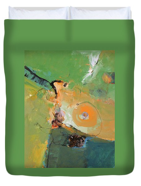 Duvet Cover featuring the painting Another Green World by Cliff Spohn