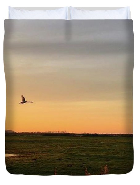 Another Iphone Shot Of The Swan Flying Duvet Cover