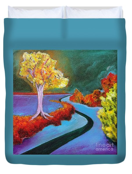 Duvet Cover featuring the painting Golden Aura by Elizabeth Fontaine-Barr
