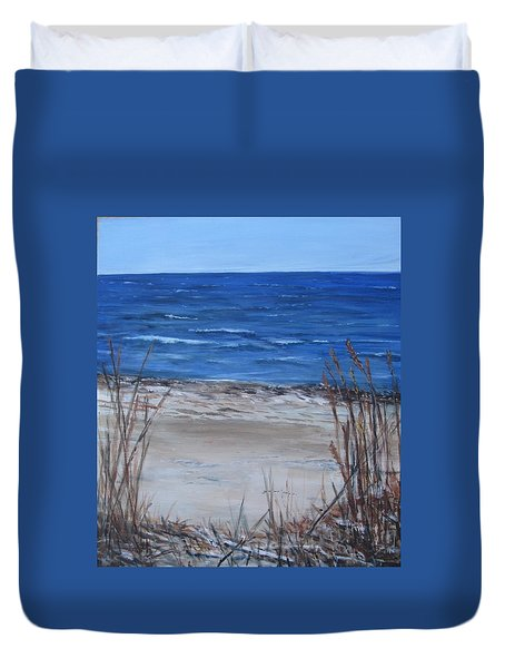 Another View Of East Point Beach Duvet Cover
