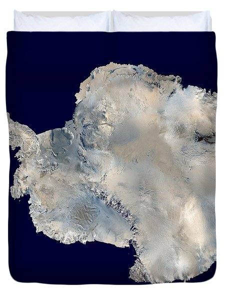 Antarctica From Blue Marble Duvet Cover