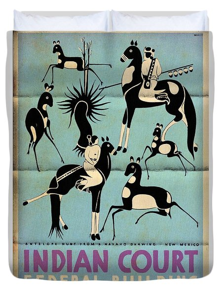 Antelope Hunt From A Navaho Drawing Exhibition - Vintage Poster Folded Duvet Cover