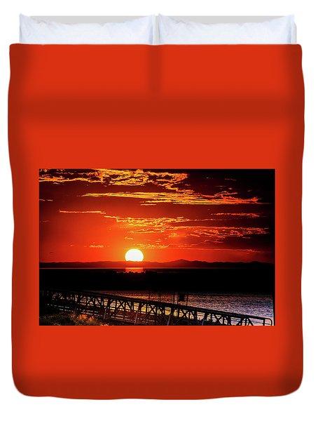 Antelope Island Marina Sunset Duvet Cover