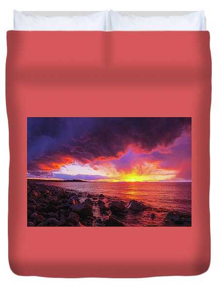 Antelope Island Sunset Duvet Cover