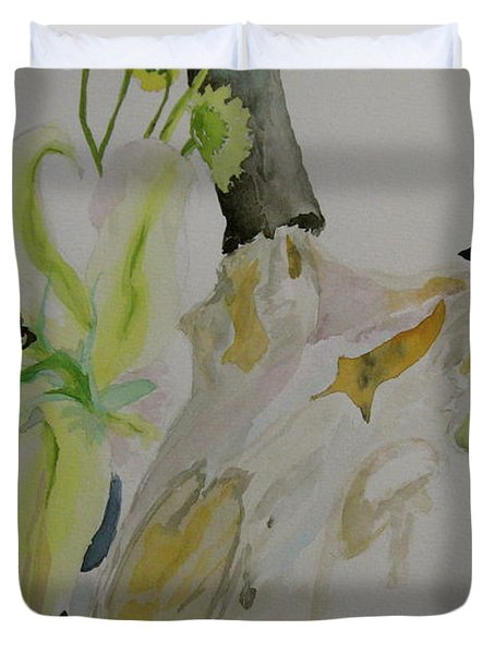 Duvet Cover featuring the painting Antelope Skull Pinecones And Lily by Beverley Harper Tinsley