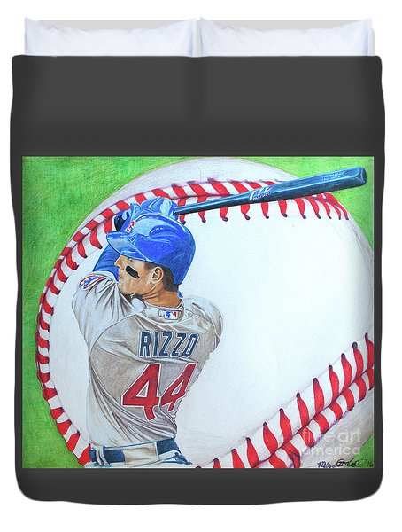 Anthony Rizzo 2016 Duvet Cover by Melissa Goodrich