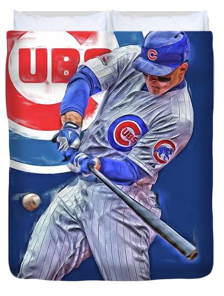 Anthony Rizzo Chicago Cubs Oil Art Duvet Cover