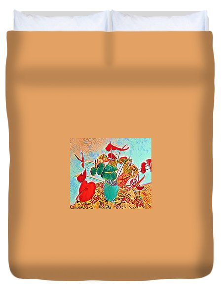Anthurium Bouquet Of The Day - Multiple Color Duvet Cover