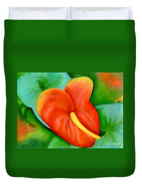 Anthurium Flowers #228 Duvet Cover by Donald k Hall