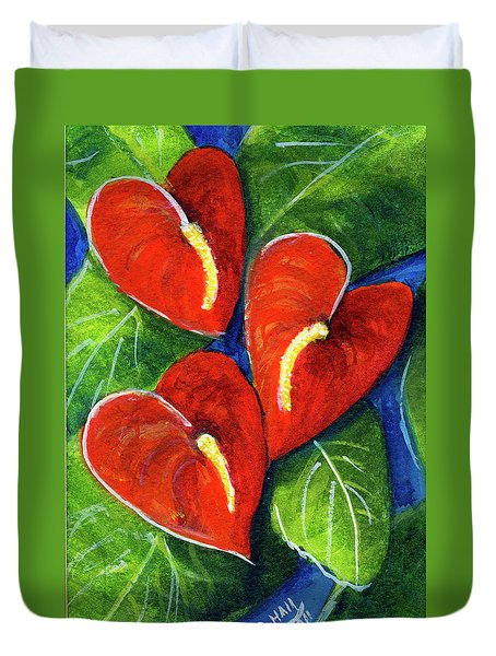 Anthurium Flowers #272 Duvet Cover by Donald k Hall