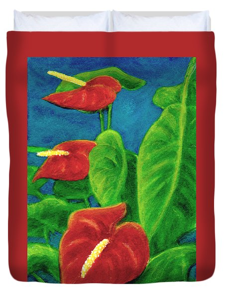 Anthurium Flowers #296 Duvet Cover by Donald k Hall