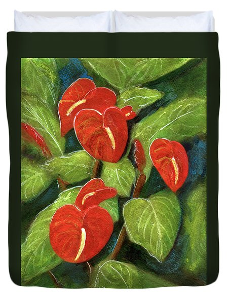 Anthurium Flowers #231 Duvet Cover by Donald k Hall