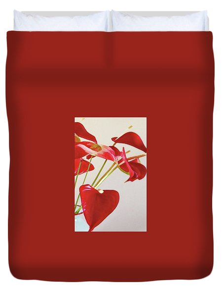 Anthurium Fragments In Red Duvet Cover