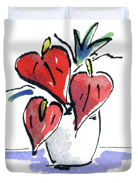Anthurium Vase Duvet Cover