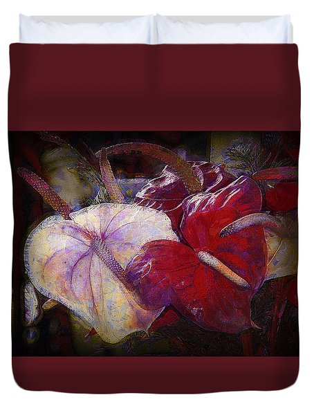 Duvet Cover featuring the photograph Anthuriums For My Valentine by Lori Seaman