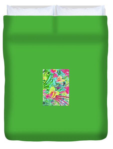 Anthuriums Pink And Turquoise Duvet Cover