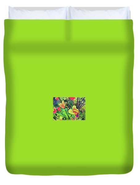 Anthuriums Yellow And Red Duvet Cover