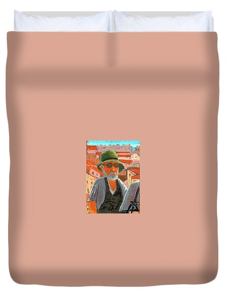 Duvet Cover featuring the painting Antibes Self by Gary Coleman
