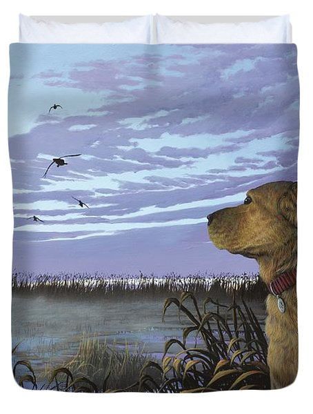 On Watch - Yellow Lab Duvet Cover