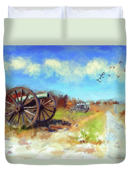 Duvet Cover featuring the digital art Antietam Under Blue Skies  by Lois Bryan