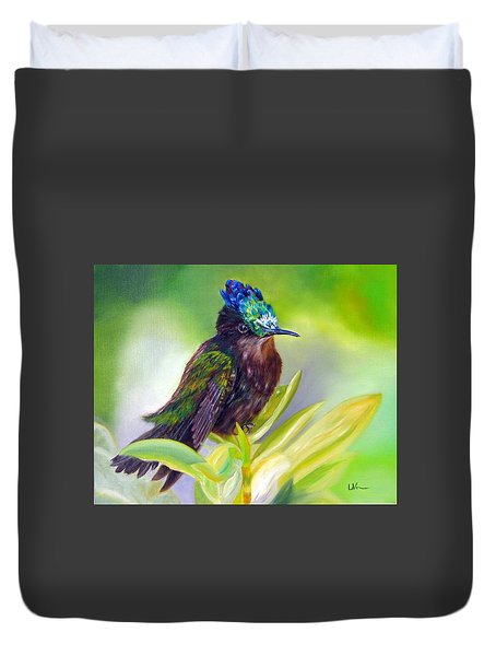 Antillean Crested Hummingbird Duvet Cover by LaVonne Hand