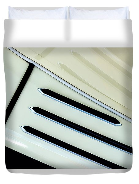 Duvet Cover featuring the photograph Antique Auto Running Board And Reflection by Gary Slawsky